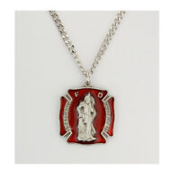 Firefighters Red Necklace with a St. Florian Medal, Prayer Card and Gift Box