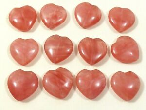 """Lot of 12  Strawberry Quartz stone Heart beads for jewelry & crafts 1""""x1"""""""