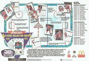 1992-93 McDonalds NHL All-star Collection Advertising Placemat