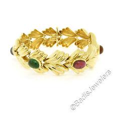 "FINE 14K Yellow Gold 6.81ct 7"" Cabochon Multi Gemstone Ribbed Wide Leaf Bracelet"