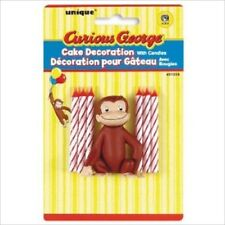 CURIOUS GEORGE CAKE DECORATION TOPPER w/ CANDLES ~ Birthday Party Supplies Cute