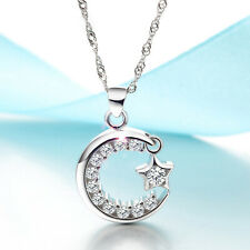 REAL SOLID SILVER 925  Classic Sterling Silver Necklace & Pendant  Moon-Star-024