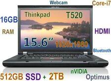 New listing # 3D-Design Thinkpad T520 i7-2.8Ghz (512Gb Ssd + 2Tb) 16Gb 15.6 Fhd nVidia Dock