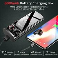 Bluetooth 5.0 Wireless Earbuds 6000mAh Power Charging Case (Power Bank) Gym