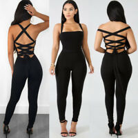 Womens Sleeveless Backless Bodycon Jumpsuit Romper Cocktail Playsuit Long Pants