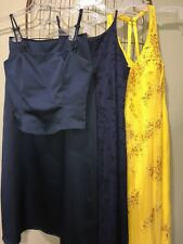 3 Formal Party Dresses Blue Yellow Women's 11/12