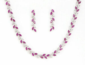 Cubic Zirconia Ruby Marquise Designer Necklace Set 38 RN 1