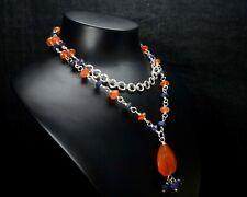 "N-0731 Carnelian Gemstones Natural Designer Quartz Beads Vermiel 21"" Necklace $"