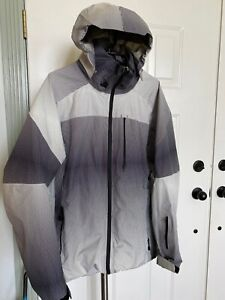 Burton AK GORTEX SNOWBOARD SKI JACKET OPTICAL ILLUSION BLACK WHITE SIZE L EUC