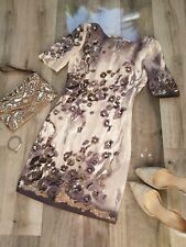 Karen Millen Elegante Vestido Floral Gris y Crema Con Cuentas Talla 6 Boda Fiesta