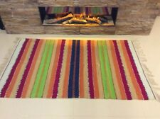 Striped Bright Multi Colour Ethnic Cotton Durrie Fringed Reversible RUG 60x90cm