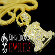 Real Yellow Gold On Silver Micro Mini Jesus Piece Pendant Chain Set Simu Diamond