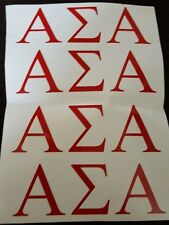 Alpha Sigma Alpha decals set of 4 Greek Letters - Vinyl Decal - 5 wide by 2.tall