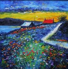 Cottages Sunset Catterline HEBRIDEAN COLOURIST  OIL PAINTING : NATALIE SOUTER