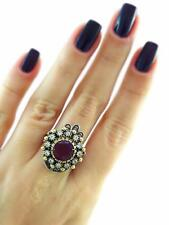 STERLING 925 SILVER Sz 8.5 RING TURKISH OTTOMAN HANDMADE VICTORIAN JEWELRY R2189