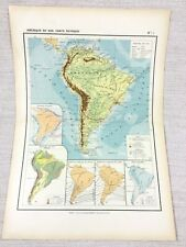 1888 Antique Map of South America Physical Geography FRENCH 19th Century