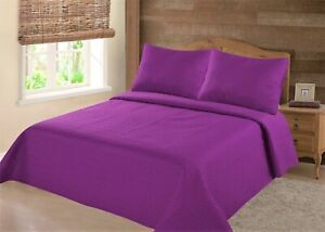 NEW UNIQUE SOLID PLAIN  QUILT SET BED COVER BEDDING QUILTED BEDSPREAD