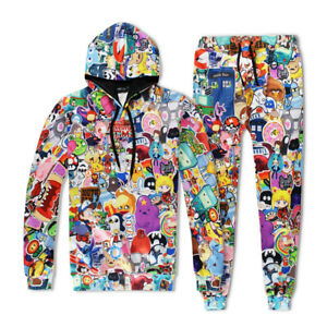 Cartoon Collections of Anime Tracksuit  Print Hoodies Sweatshir Pants Jogger New