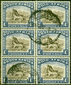 South Africa 1950 1s Brown & Chalky Blue SG120 Fine Used Block of 6