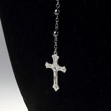 Wooden Hematite Beads Cross Pendent Religion Bless Prayer Necklace Jewelry