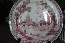 """SPODE 10"""" Dinner Plate Archive Collection RED """"ROME"""" Pattern FREE SHIPPING"""