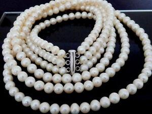 Traumhaft schöne alte 3 reihige Perlen Kette mit Verschluß / 50 cm