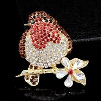 Diamante Robin Red Breast Brooch Gold Metal Rhinestone Gift Bird Faddish