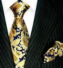 1202501 LORENZO CANA - Marken Krawatte und Pochette 100% Seide Paisley Blau Gold