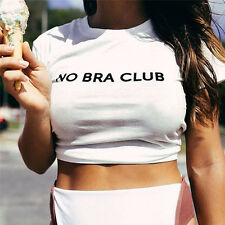 FunnyFashion Womens NO BRA CLUB Lady Dew Navels Attire Short Sleeve Tee T-shiYT