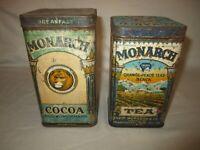 2 Vintage Monarch Tin's Cocoa & Tea!!!