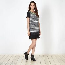 New Butterfly by Matthew Williamson Black Zig Zag Shift Dress Sz UK10 rrp £55