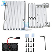 CNC Aluminum Alloy Shell Cover Silver Case Cooling Fan Fit For Raspberry Pi 4