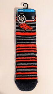 Denver Broncos NFL '47 Brand Striped Crew Socks Medium Men 5-8.5 Women 7-9.5