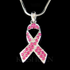 w Swarovski Crystal Hot Pink Breast Cancer Awareness Ribbon Charm Chain Necklace