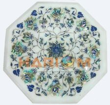 "12"" White Marble Coffee Table Top Lapis Paua Shell Floral Inlay Home Decors W427"