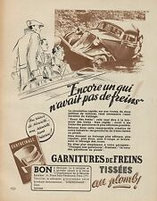 Y9352 Garnitures de freins TISSEES - Pubblicità d'epoca - 1937 Old advertising