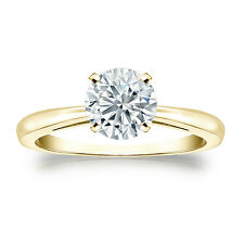 Certified 14K Yellow Gold 4-Prong Round Diamond Solitaire Ring 1.00ct G-H I1-I2