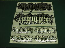 6 Relentless Stickers Mirror silver on black.