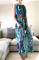 Turquoise Snake Reptile Print Summer Maxi Belted Dress One Size Cavalli