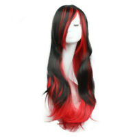 Women Long Straight Wavy Hair Wig Black Mix Red Cosplay Party Full Head Wigs+Cap