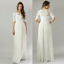 Vintage Long Beach Wedding Dresses  Half Sleeves Boho Back Wedding Gowns Custom