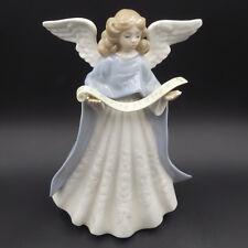 Vtg 1990 Lladro Angel Singer Christmas Tree Topper 5719 Blue Porcelain Spain