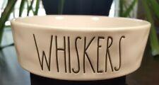 """RAE DUNN White Pet Bowl Dish """"WHISKERS"""" Kitty CAT Kitten Artisan Stoneware"""