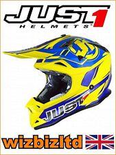 JUST1 MX Helmet J32 PRO - Rave Blue-Yellow  - Large JUS305L