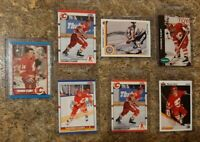 (7) Theo Fleury 1989-90 O-Pee-Chee 1990-91 Score Upper Rookie card lot RC Flames