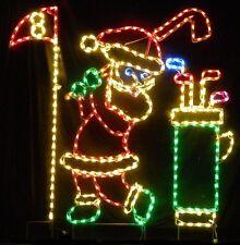 Christmas Santa Golfing Golf Course Flag LED Lighted Decoration Steel Wireframe