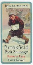 1926 CELLULOID CALENDAR ~ SWIFT CO ~ BROOKFIELD PORK SAUSAGE