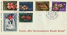A LOVELY FDC FROM SURINAM 1962 RED CROSS FUND/FLOWERS