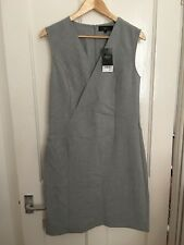 BNWT Size 12 Next Grey Pinstripe Crossover Front Dress RRP £50