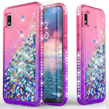 For Samsung Galaxy A10e Bling Hybrid Glitter Case Cover With HD Screen protector